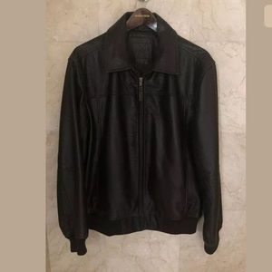 Roundtree & Yorke Brown Men's Leather Jacket Sz L